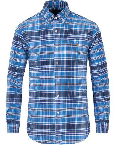 Polo Ralph Lauren Slim Fit Oxford Check Shirt Jewel Blue i gruppen Kläder / Skjortor / Oxfordskjortor hos Care of Carl (13641611r)