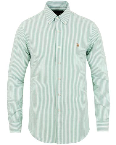 Polo Ralph Lauren Slim Fit Oxford Stretch Stripe Shirt Green/White i gruppen Skjortor / Casual skjortor hos Care of Carl (13642411r)