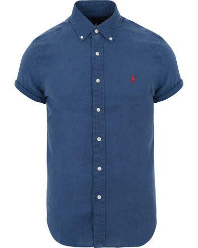 Polo Ralph Lauren Slim Fit Short Sleeve Linen Shirt Holiday Navy i gruppen Kläder / Skjortor / Kortärmade skjortor hos Care of Carl (13645611r)