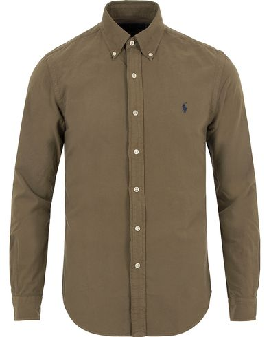 Polo Ralph Lauren Slim Fit Garment Dyed Oxford Shirt Olive i gruppen Kläder / Skjortor / Oxfordskjortor hos Care of Carl (13646311r)