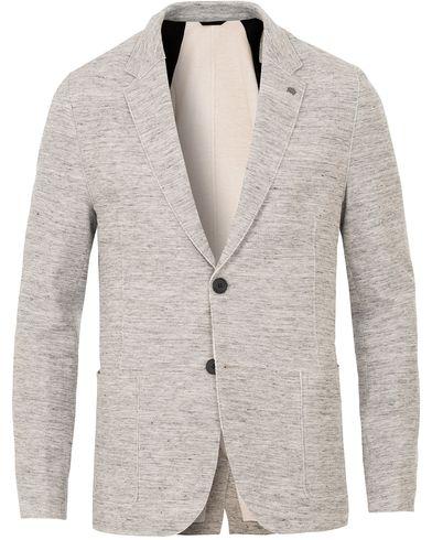 Hugo Agalto Jersey Raw Edge Blazer Open Grey i gruppen Kläder / Kavajer / Enkelknäppta kavajer hos Care of Carl (13648411r)