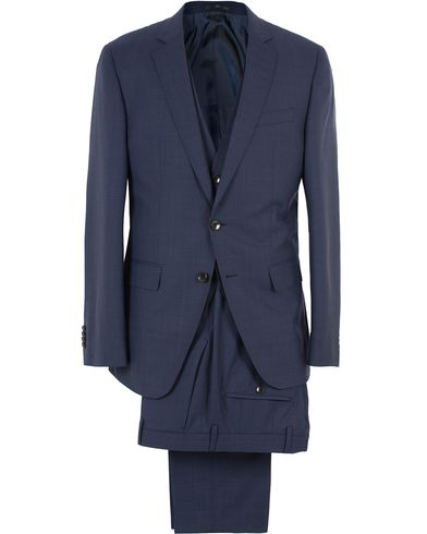 BOSS Huge/Genius 3P Wool Suit Dark Blue i gruppen Kostymer hos Care of Carl (13648911r)
