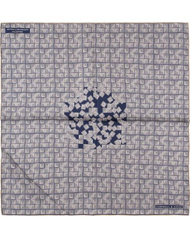 Turnbull & Asser Zoomed Tire Pocket Square Blue  i gruppen Accessoarer / Näsdukar hos Care of Carl (13659510)