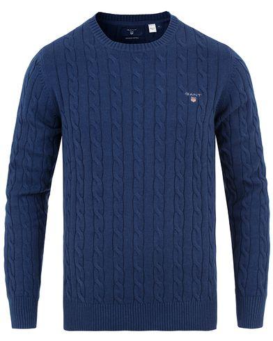 Gant Cotton Cable Crew Neck Marine Melange i gruppen Tröjor / Stickade tröjor hos Care of Carl (13673111r)