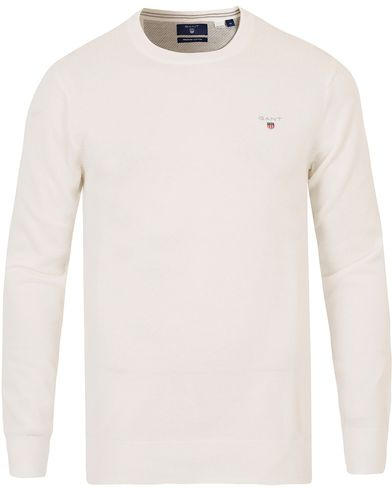 Gant Cotton Pique Crew Neck Eggshell i gruppen Tröjor / Stickade tröjor hos Care of Carl (13674111r)
