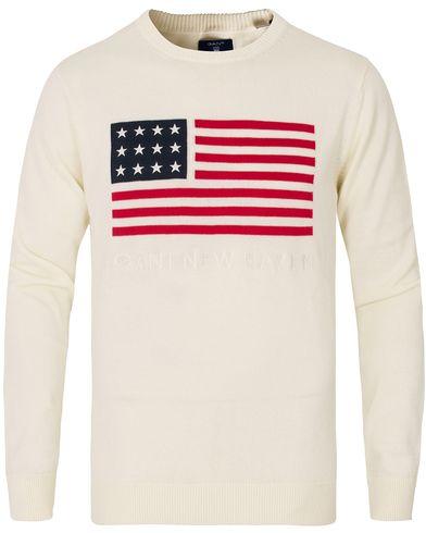 Gant Knitted Flag Crew Neck Cream i gruppen Tröjor / Stickade tröjor hos Care of Carl (13674611r)