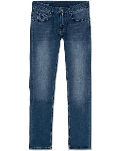 Morris Steve Satin Jeans Mid Blue i gruppen Kläder / Jeans / Avsmalnande jeans hos Care of Carl (13735511r)