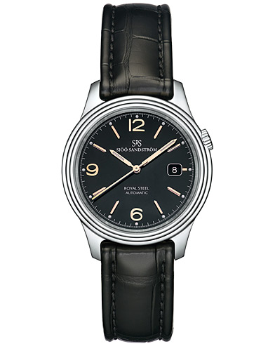 Sjöö Sandström Royal Steel Classic Black with Black Alligator 41 mm   i gruppen Assesoarer / Klokker hos Care of Carl (13774510)