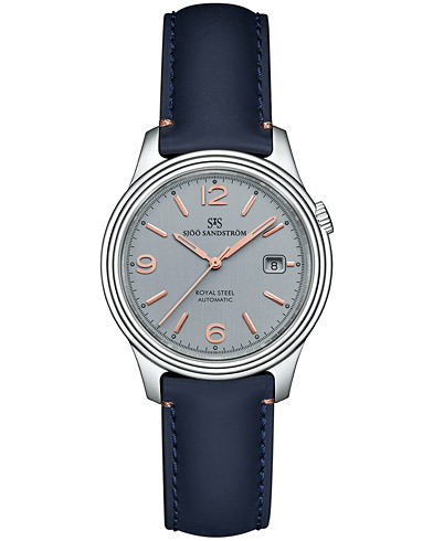 Sjöö Sandström Royal Steel Classic Grey with Blue Calf 41 mm   i gruppen Assesoarer / Klokker hos Care of Carl (13774910)
