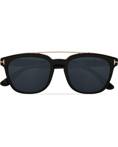 Tom Ford Holt FT0516 Sunglasses Shiny Black/Smoke  i gruppen Assesoarer / Solbriller / Firkantede solbriller hos Care of Carl (13781510)