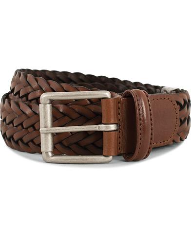 Anderson's Woven Leather 3,5 cm Belt Tanned Brown i gruppen Tilbehør / Bælter / Flettede bælter hos Care of Carl (13782211r)