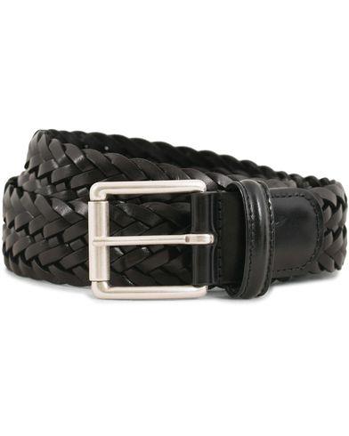 Anderson's Woven Leather 3,5 cm Belt Tanned Black i gruppen Tilbehør / Bælter / Flettede bælter hos Care of Carl (13782311r)
