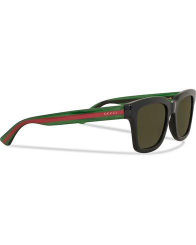 Gucci GG0001S Sunglasses  Black/Green  i gruppen Accessoarer / Solglasögon / Fyrkantiga solglasögon hos Care of Carl (13792810)