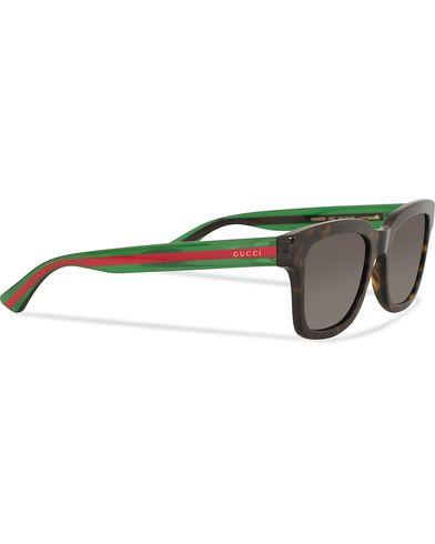 Gucci GG0001S Sunglasses  Avana/Green/Grey  i gruppen Accessoarer / Solglasögon / Fyrkantiga solglasögon hos Care of Carl (13792910)