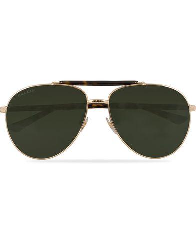 Gucci GG0014S Sunglasses Gold/Avana/Green  i gruppen Assesoarer / Solbriller / Pilotsolbriller hos Care of Carl (13793510)