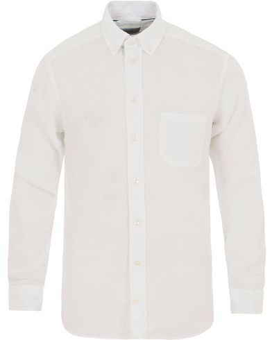 Eton Slim Fit Linen Button Down Shirt White i gruppen Kläder / Skjortor / Linneskjortor hos Care of Carl (13794711r)