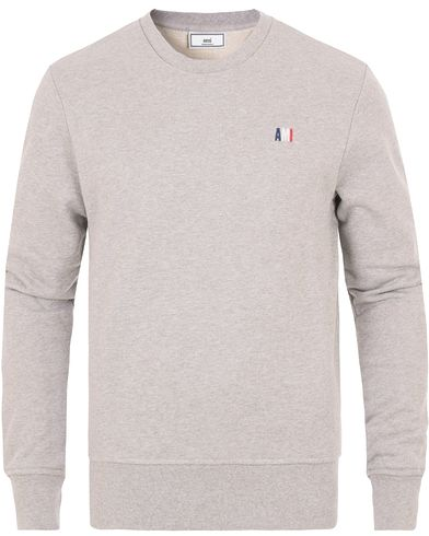 AMI Tricolore Logo Sweatshirt Heather Grey i gruppen Klær / Gensere / Sweatshirts hos Care of Carl (14000611r)