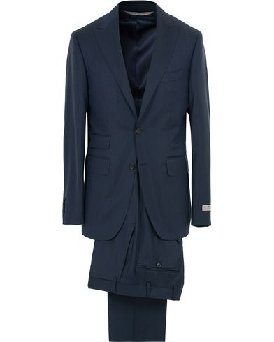 Canali Capri Structured Peak Lapel Wool Suit Navy i gruppen Klær / Dresser / Todelte dresser hos Care of Carl (14012111r)
