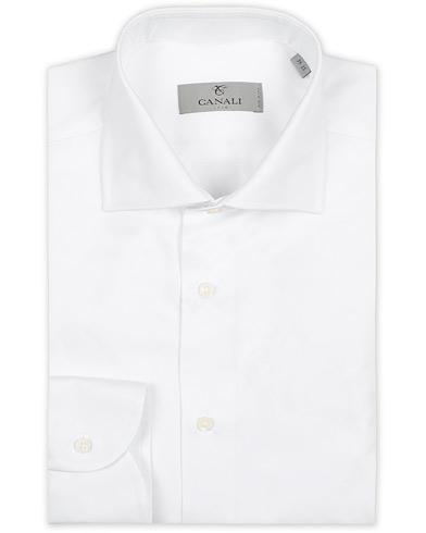 Canali Slim Fit Cotton Cut Away Shirt White i gruppen Klær / Skjorter / Formelle / Formelle skjorter hos Care of Carl (14012911r)