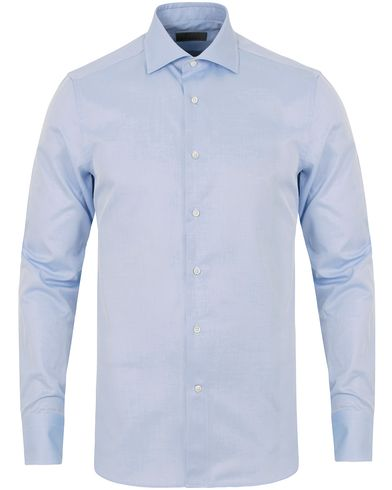 Canali Slim Fit Cotton Cut Away Shirt Light Blue i gruppen Kläder / Skjortor hos Care of Carl (14013011r)