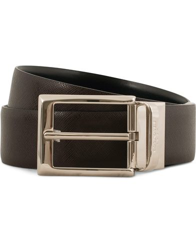 Canali Reversible Leather Belt Black/Dark Brown i gruppen Tilbehør / Bælter / Blanke bælter hos Care of Carl (14014211r)