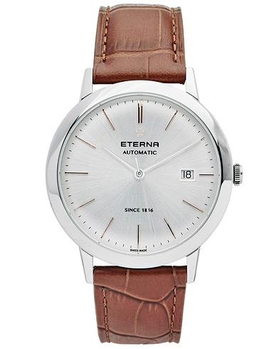 Eterna Eternity Automatic Silver/Brown Silver/Brown Leather 40mm  i gruppen Assesoarer / Klokker hos Care of Carl (14031010)