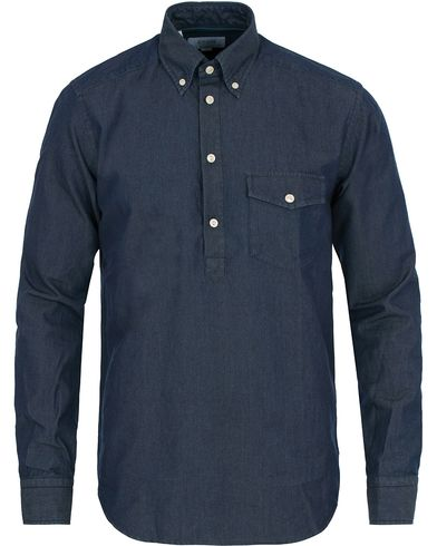 Eton Slim Fit Denim Chambray Popover Shirt Dark Washed i gruppen Tøj / Skjorter / Casual skjorter hos Care of Carl (14099311r)