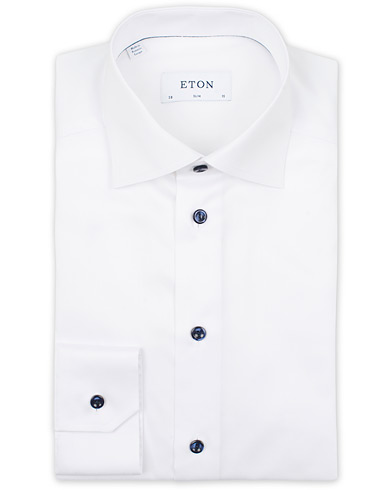 Eton Slim Fit Signature Twill Shirt White i gruppen Tøj / Skjorter hos Care of Carl (14099411r)