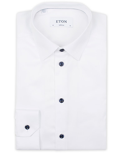 Eton Super Slim Fit Signature Twill Shirt White i gruppen Tøj / Skjorter / Businessskjorter hos Care of Carl (14099511r)