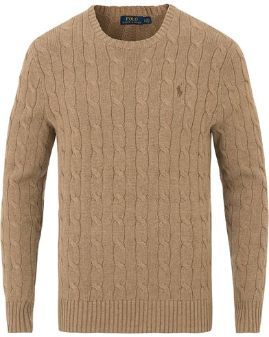 Polo Ralph Lauren Cotton Cable Crew Neck Fall Sand Heather i gruppen Tøj / Trøjer / Pullovers med rund hals hos Care of Carl (14130111r)