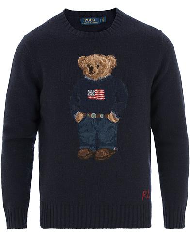 Polo Ralph Lauren Wool Bear Crew Neck Navy i gruppen Tøj / Trøjer / Strikkede trøjer hos Care of Carl (14130811r)