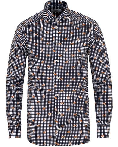 Eton Slim Fit Twill Printed Dog Check Shirt Navy i gruppen Tøj / Skjorter / Casual skjorter hos Care of Carl (14267311r)