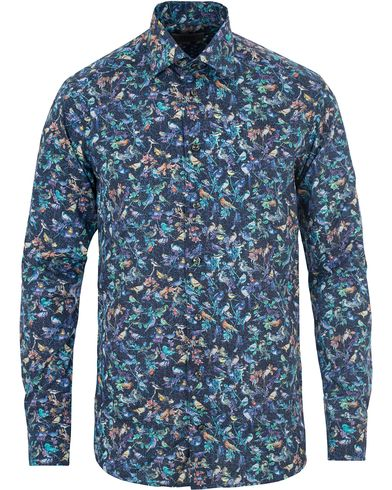 Eton Slim Fit Twill Printed Birds Shirt Blue i gruppen Tøj / Skjorter / Casual skjorter hos Care of Carl (14267811r)