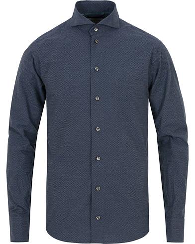 Eton Slim Fit Lightweight Flannel Printed Shirt Navy i gruppen Tøj / Skjorter / Flannelskjorter hos Care of Carl (14268411r)