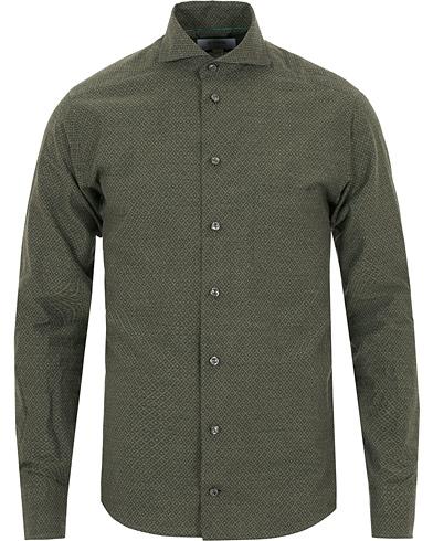 Eton Slim Fit Lightweight Flannel Printed Shirt Green i gruppen Tøj / Skjorter hos Care of Carl (14268511r)