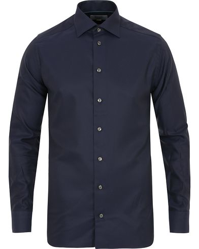 Eton Slim Fit Twill Diagonal Stripe Shirt Navy i gruppen Tøj / Skjorter / Formelle skjorter hos Care of Carl (14269011r)