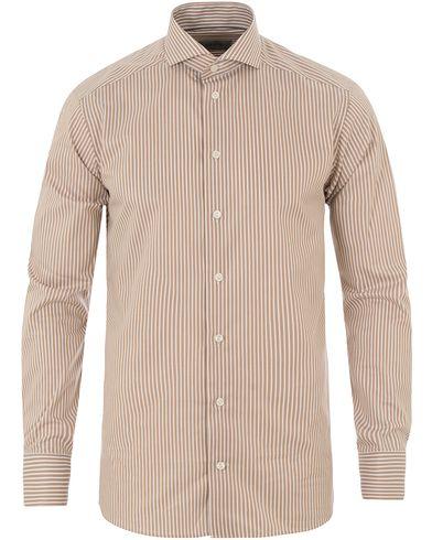 Eton Slim Fit Twill Stretch Stripe Shirt Brown i gruppen Tøj / Skjorter / Formelle skjorter hos Care of Carl (14269111r)