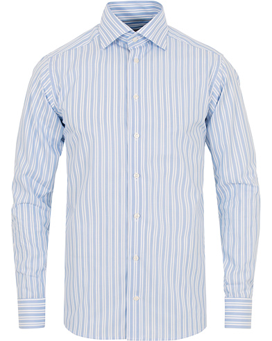 Eton Slim Fit Poplin High Cut Away Stripe Shirt Blue i gruppen Tøj / Skjorter hos Care of Carl (14269211r)