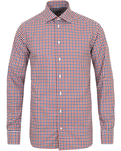 Eton Slim Fit Twill Check Shirt Red/Blue i gruppen Tøj / Skjorter hos Care of Carl (14269411r)