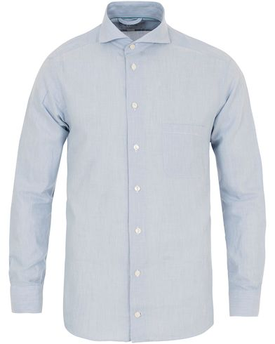 Eton Slim Fit Flannel Shirt Light Blue i gruppen Tøj / Skjorter / Flannelskjorter hos Care of Carl (14269911r)