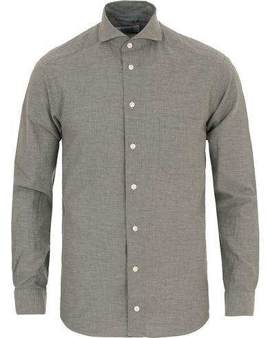 Eton Slim Fit Flannel Shirt Light Grey i gruppen Tøj / Skjorter / Flannelskjorter hos Care of Carl (14270111r)