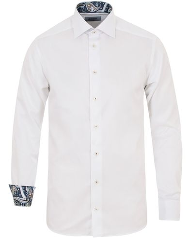 Eton Slim Fit Contrast Flower Shirt White i gruppen Tøj / Skjorter hos Care of Carl (14278211r)