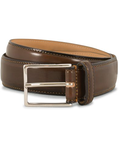 Morris Leather 3 cm Belt Brown i gruppen Assesoarer / Belter / Umønstrede belter hos Care of Carl (14281611r)