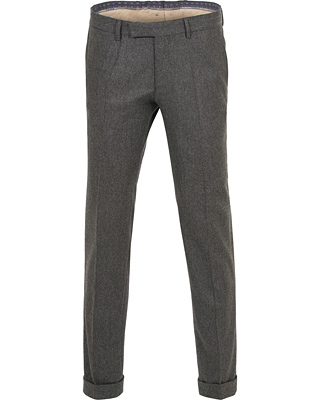 Oscar Jacobson Dean Turn Up Flannel Trousers Dark Grey i gruppen Klær / Bukser hos Care of Carl (14305611r)