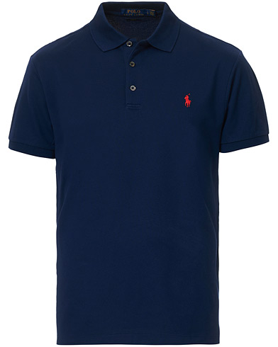 Polo Ralph Lauren Slim Fit Stretch Polo Navy i gruppen Kläder / Pikéer / Kortärmade pikéer hos Care of Carl (14328311r)
