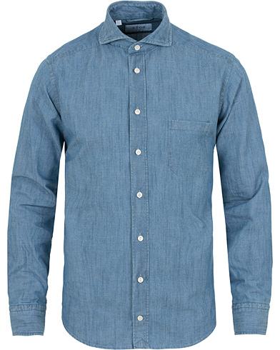 Eton Slim Fit Denim Cut Away Shirt Indigo Blue i gruppen Tøj / Skjorter / Casual / Denimskjorter hos Care of Carl (14331211r)
