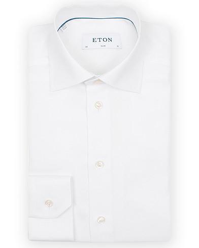 Eton Slim Fit Royal Oxford Shirt White i gruppen Tøj / Skjorter / Formelle skjorter hos Care of Carl (14331711r)