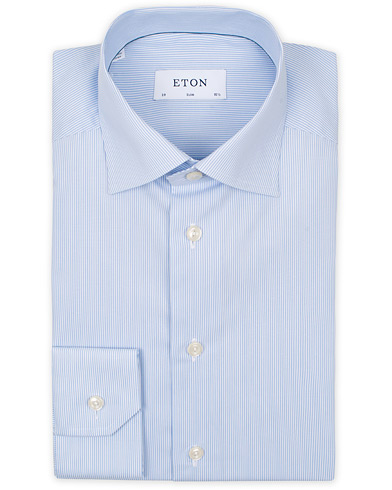 Eton Slim Fit Poplin Thin Stripe Shirt Blue/White i gruppen Tøj / Skjorter / Formelle skjorter hos Care of Carl (14331911r)