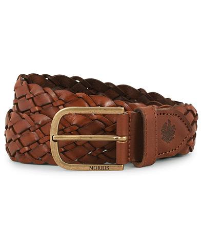 Morris Braided Leather 3,5 cm Belt Cognac i gruppen Accessoarer / Bälten / Flätade bälten hos Care of Carl (14357511r)