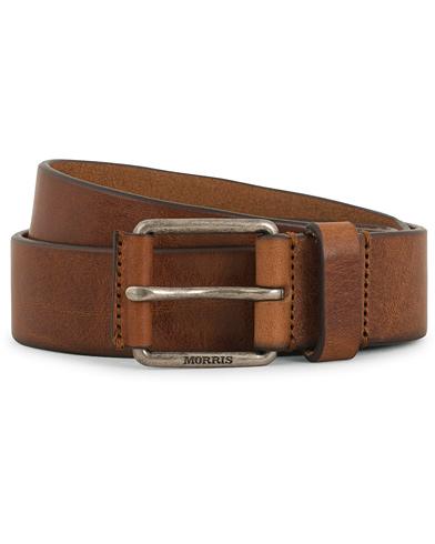 Morris Leather Jeans 3,5 cm Belt Brown i gruppen Accessoarer / Bälten / Släta bälten hos Care of Carl (14357811r)